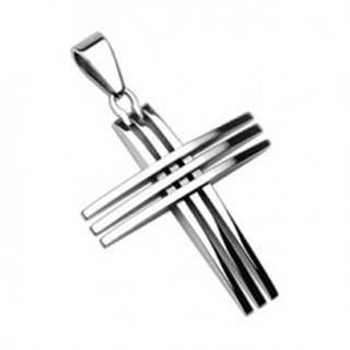 Prívesok z chirurgickej ocele - kríž z lesklých tenkých línií