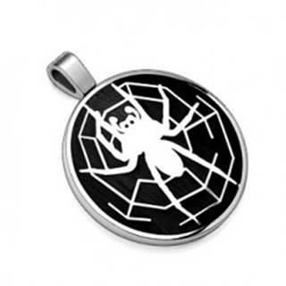 Prívesok z ocele 316L, čierny kruh s motívom pavúka s pavučinou