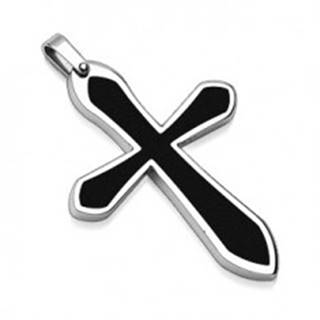 Prívesok z ocele v tvare kríža s čiernou výplňou