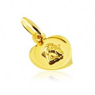 Prívesok zo 14K zlata - gravírovaný obrys srdca s vystúpeným anjelikom