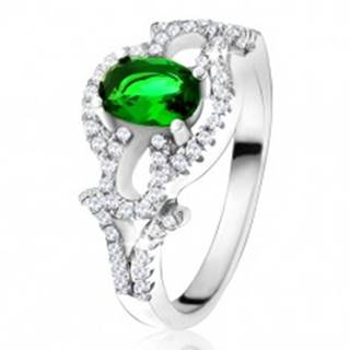 Prsteň s oválnym zeleným kameňom, číry kruh, kvapky, zo striebra 925 - Veľkosť: 50 mm