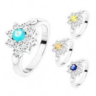 Prsteň v striebornom odtieni, zirkónový kvet s farebným stredom, lístočky - Veľkosť: 48 mm, Farba: Aqua modrá