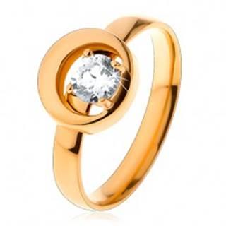 Prsteň z ocele 316L v zlatom odtieni, okrúhly číry zirkón v kruhu s výrezom - Veľkosť: 49 mm