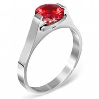 """Prsteň z ocele - červený mesačný kameň """"Január"""", postranné úchyty - Veľkosť: 50 mm"""