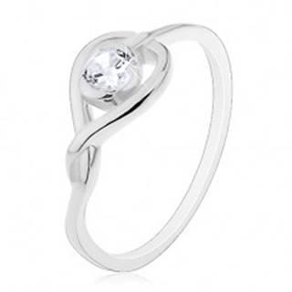 Prsteň zo striebra 925 - prekrížená silueta srdca so zirkónom - Veľkosť: 49 mm