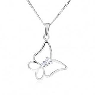 Strieborný 925 náhrdelník, retiazka a kontúra motýľa, číre kamienky