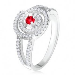 Strieborný 925 prsteň, číra zirkónová špirála, rubínový kamienok - Veľkosť: 49 mm