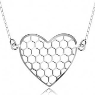 Strieborný náhrdelník 925, prívesok s retiazkou, šesťuholníky v srdiečku