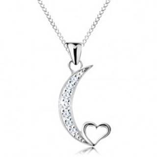 Strieborný náhrdelník 925, retiazka a prívesok, cíp mesiaca a obrys srdiečka