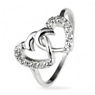 Strieborný prsteň 925 - prepletené srdcia vykladané zirkónmi - Veľkosť: 49 mm
