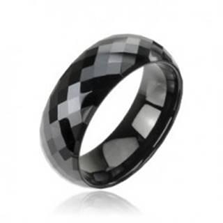 Tungstenový - Wolfrámový prsteň čierny vzor disco - Veľkosť: 59 mm