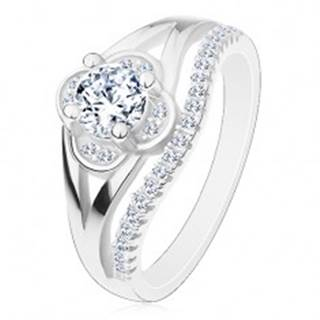 Zásnubný prsteň, striebro 925, číry zirkónový kvietok a línia drobných zirkónov - Veľkosť: 49 mm