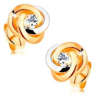 Zlaté 14K náušnice - dvojfarebný uzol z troch obručí, okrúhly číry zirkón v strede