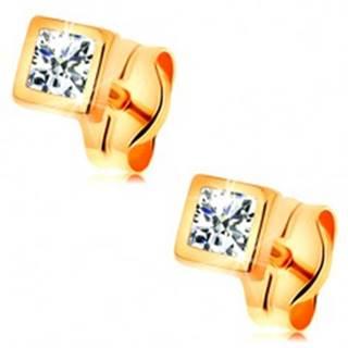 Zlaté 14K náušnice - ligotavý zirkón čírej farby v lesklej štvorcovej objímke