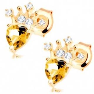 Zlaté náušnice 375 - zirkónová korunka, svetložltý srdiečkový citrín