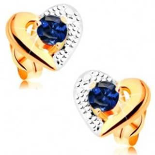 Zlaté náušnice 585 - dvojfarebný obrys srdca, gravírovanie, modrý zafír