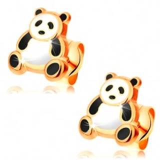 Zlaté náušnice 585, glazúrovaná čierno-biela panda, puzetky