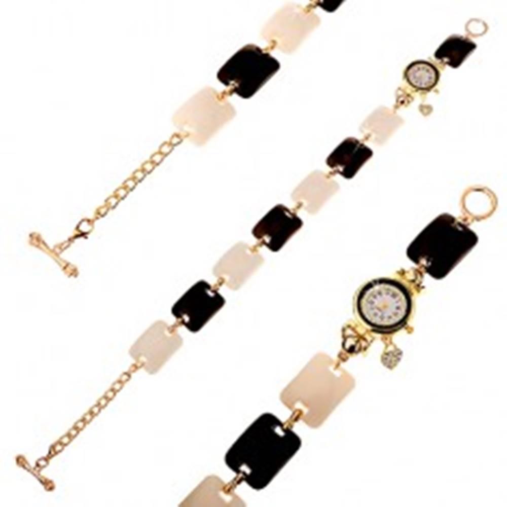 Šperky eshop Čierno-biele náramkové hodinky, vypuklé obdĺžniky, ciferník s čírymi zirkónmi