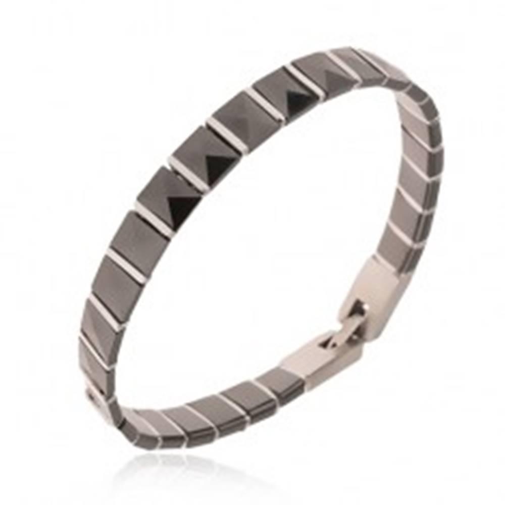 Šperky eshop Čierny keramický náramok, pyramídové články, oceľové prúžky