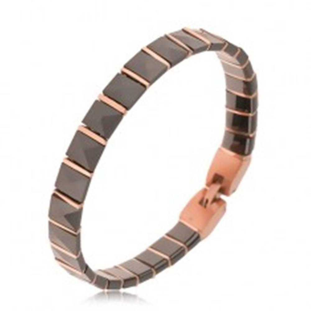 Šperky eshop Čierny keramický náramok, pyramídové články, prúžky ružovozlatej farby