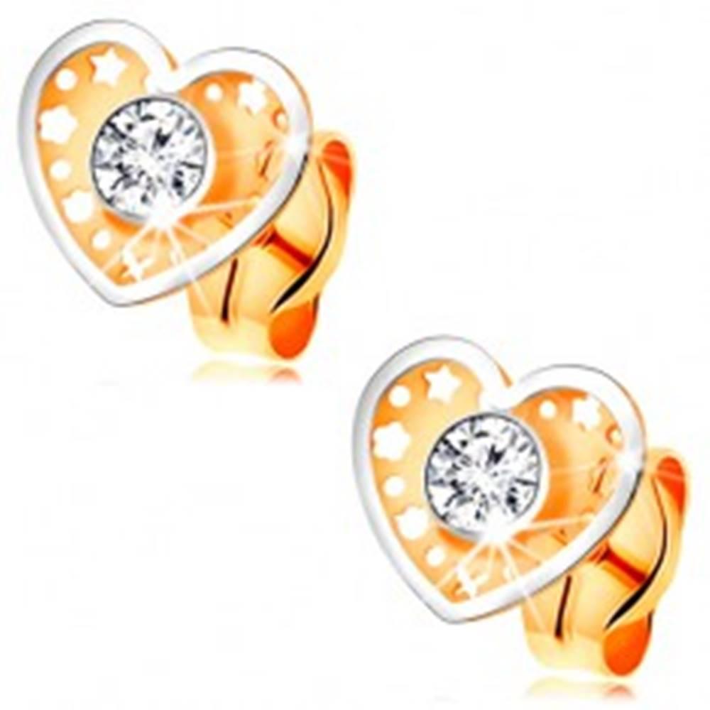 Šperky eshop Dvojfarebné náušnice v 14K zlate - srdiečko s drobnými výrezmi a čírym zirkónom