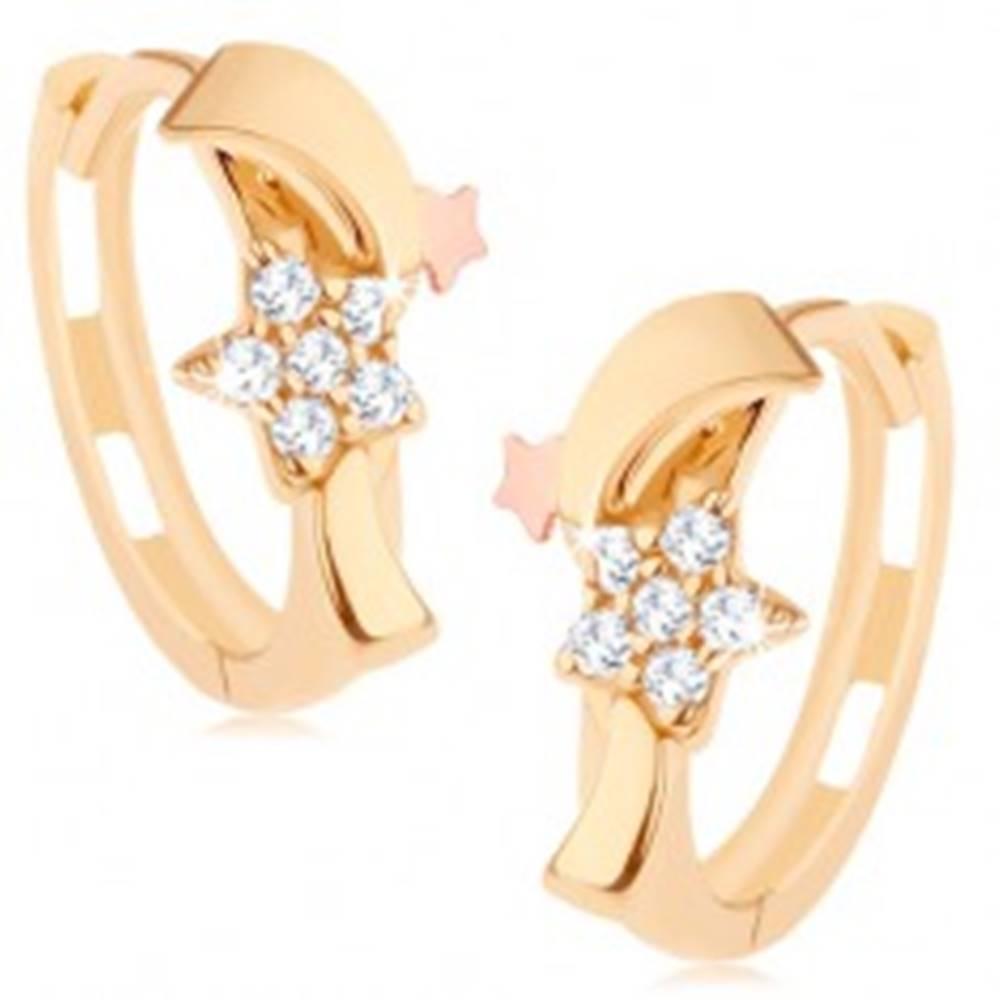 Šperky eshop Dvojfarebné náušnice v 14K zlate - zirkónový kvietok, vlnka a hviezdička