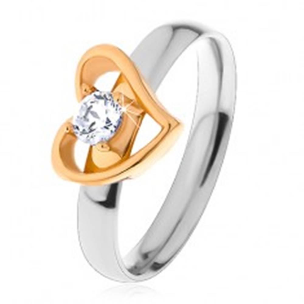 Šperky eshop Dvojfarebný prsteň z ocele 316L - asymetrická kontúra srdca, číry zirkón - Veľkosť: 49 mm