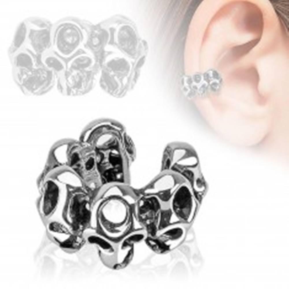 Šperky eshop Falošný piercing do ucha, lebky, ródiovaný povrch
