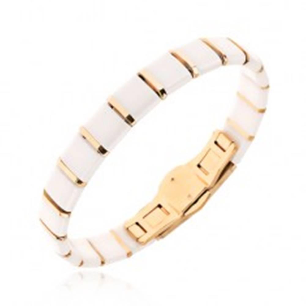 Šperky eshop Keramický náramok - biele štvorcové články, prúžky zlatej farby