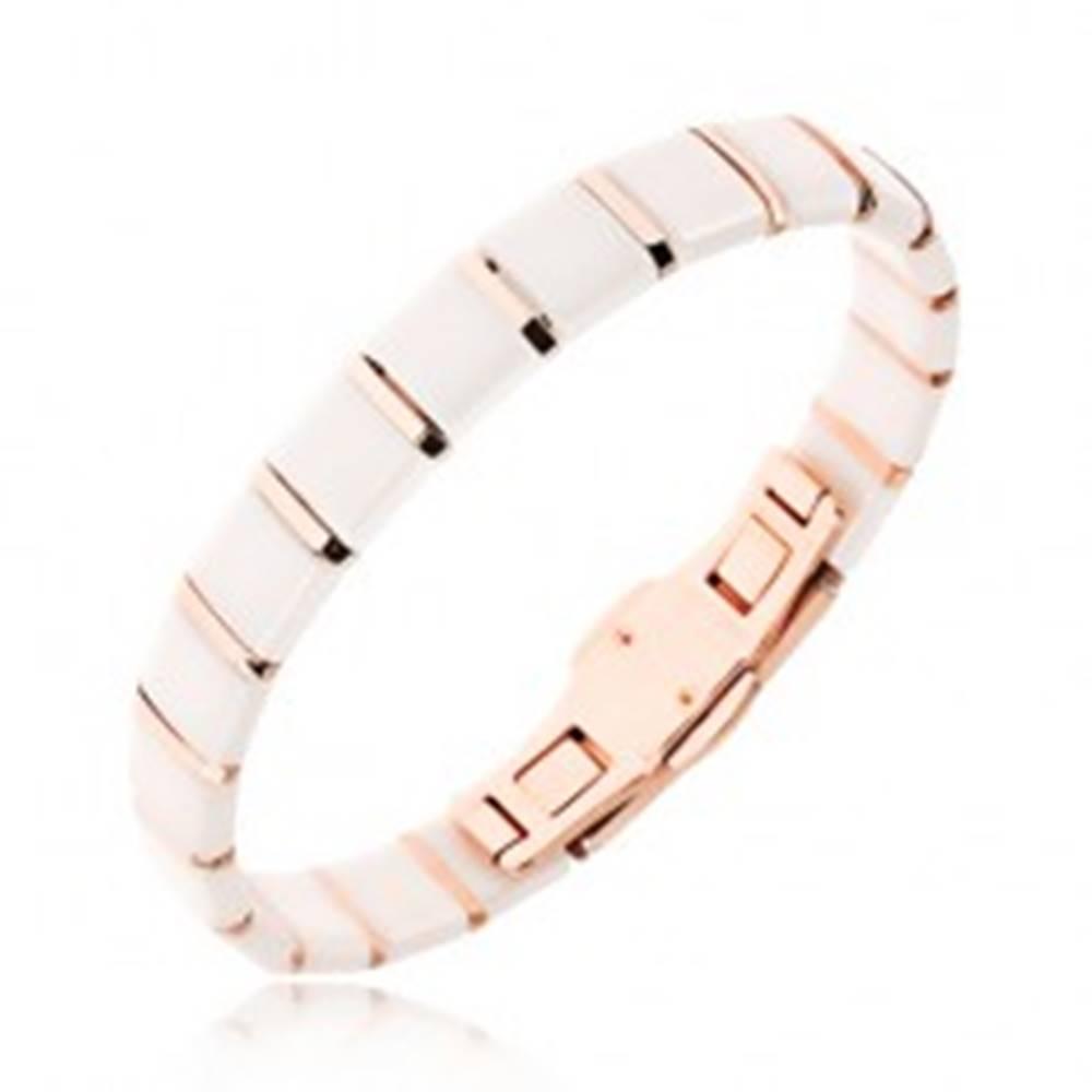 Šperky eshop Keramický náramok - biele štvorcové články, prúžky zlatoružovej farby