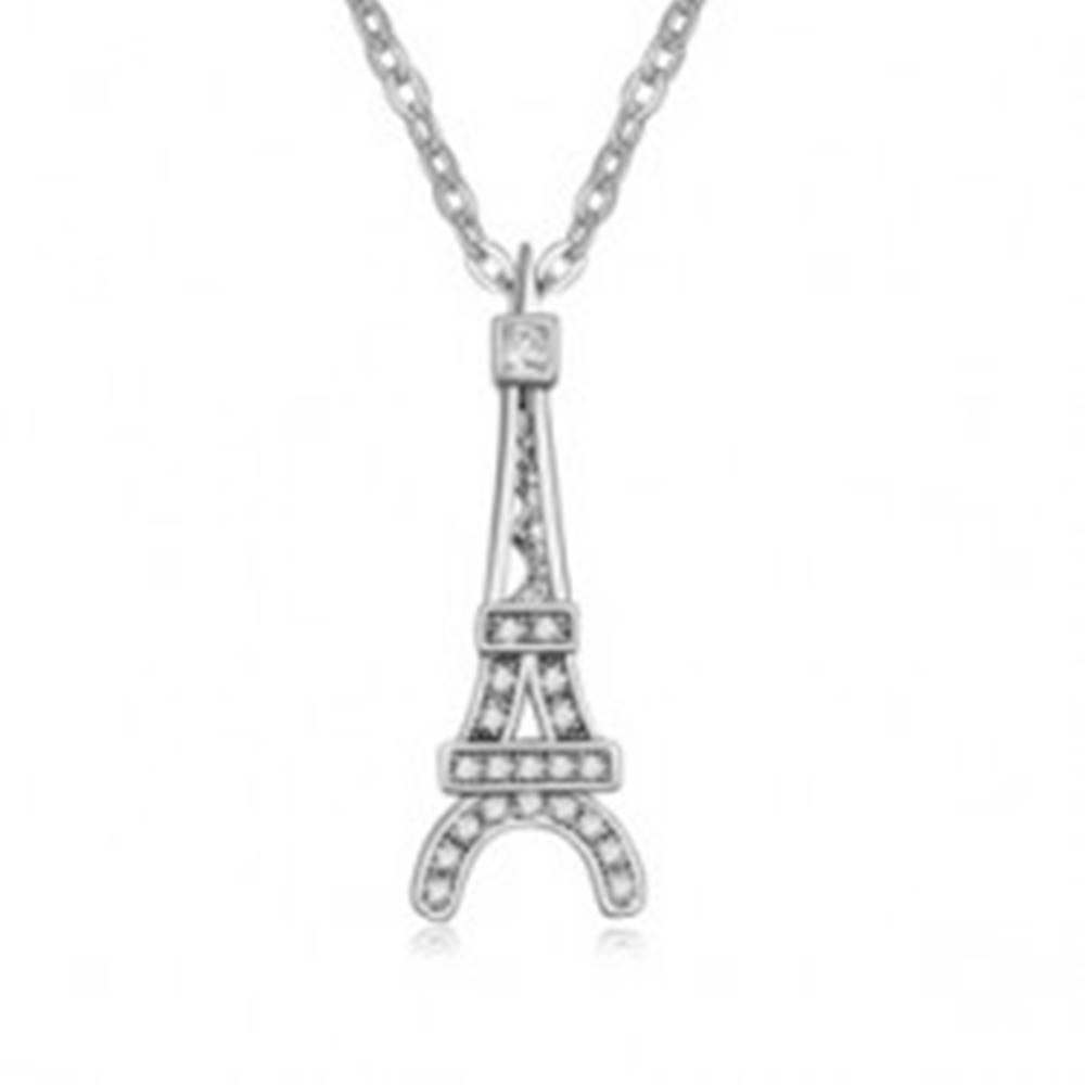 Šperky eshop Lesklý náhrdelník s príveskom Eiffelovej veže, číre kamienky