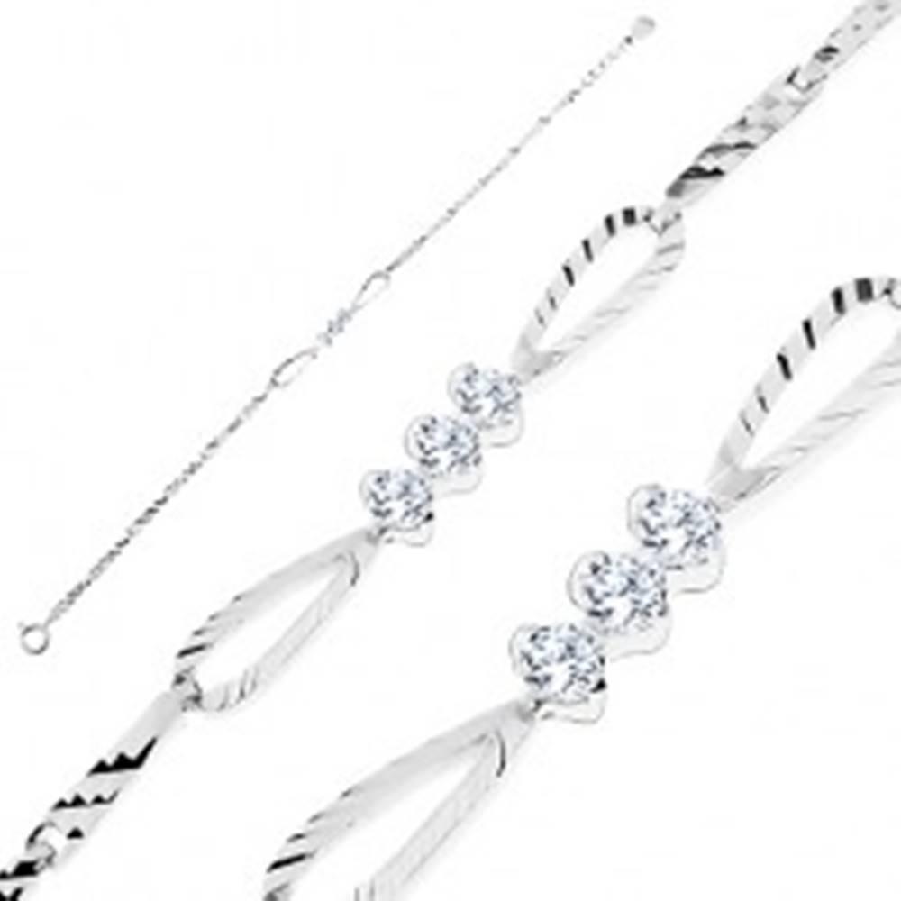 Šperky eshop Ligotavý náramok - striebro 925, lesklé články so zárezmi, mašľa so zirkónmi