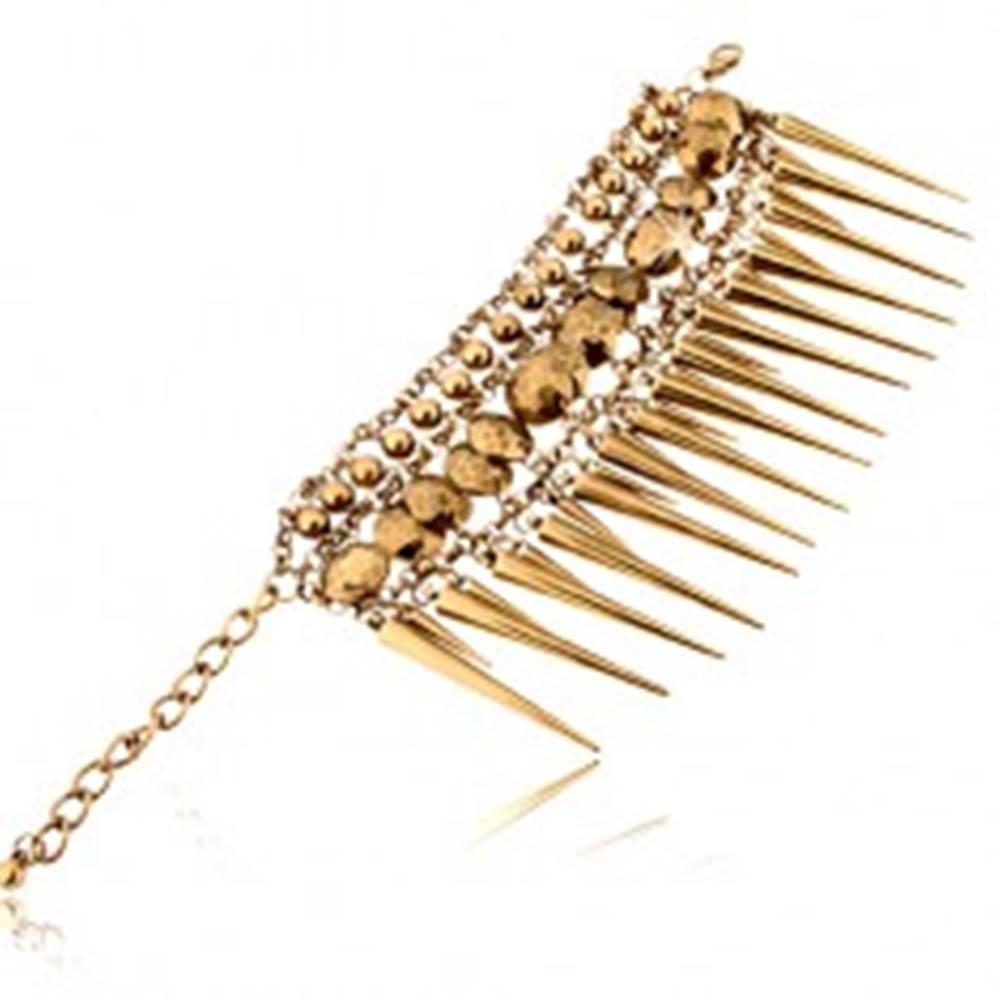 Šperky eshop Masívny náramok, mosadzný odtieň, retiazka, guličky, ostne, karabínka