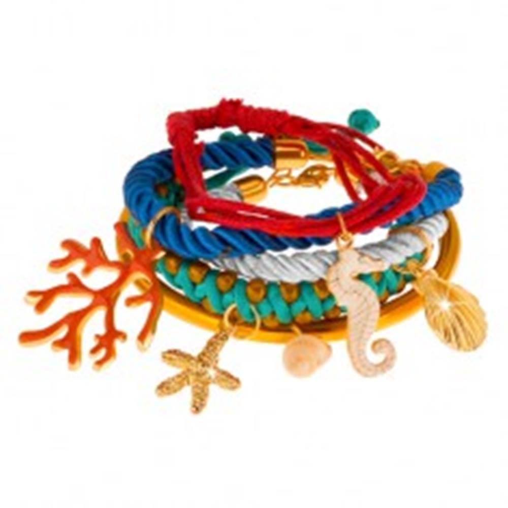 Šperky eshop Multináramok, farebné šnúrky a obruč, prívesky - korál, mušle, morský koník