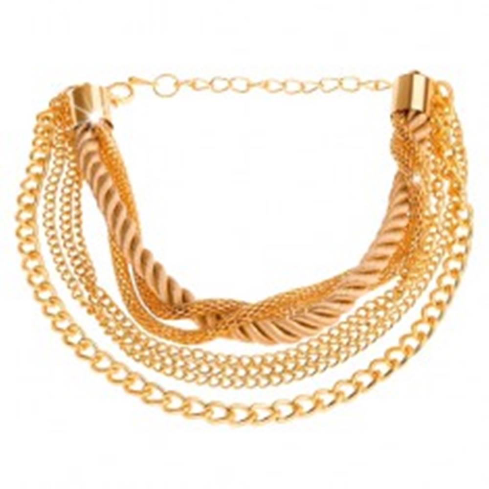 Šperky eshop Multináramok zlatej farby, retiazky rôznych vzorov, špirálovito zatočená šnúrka