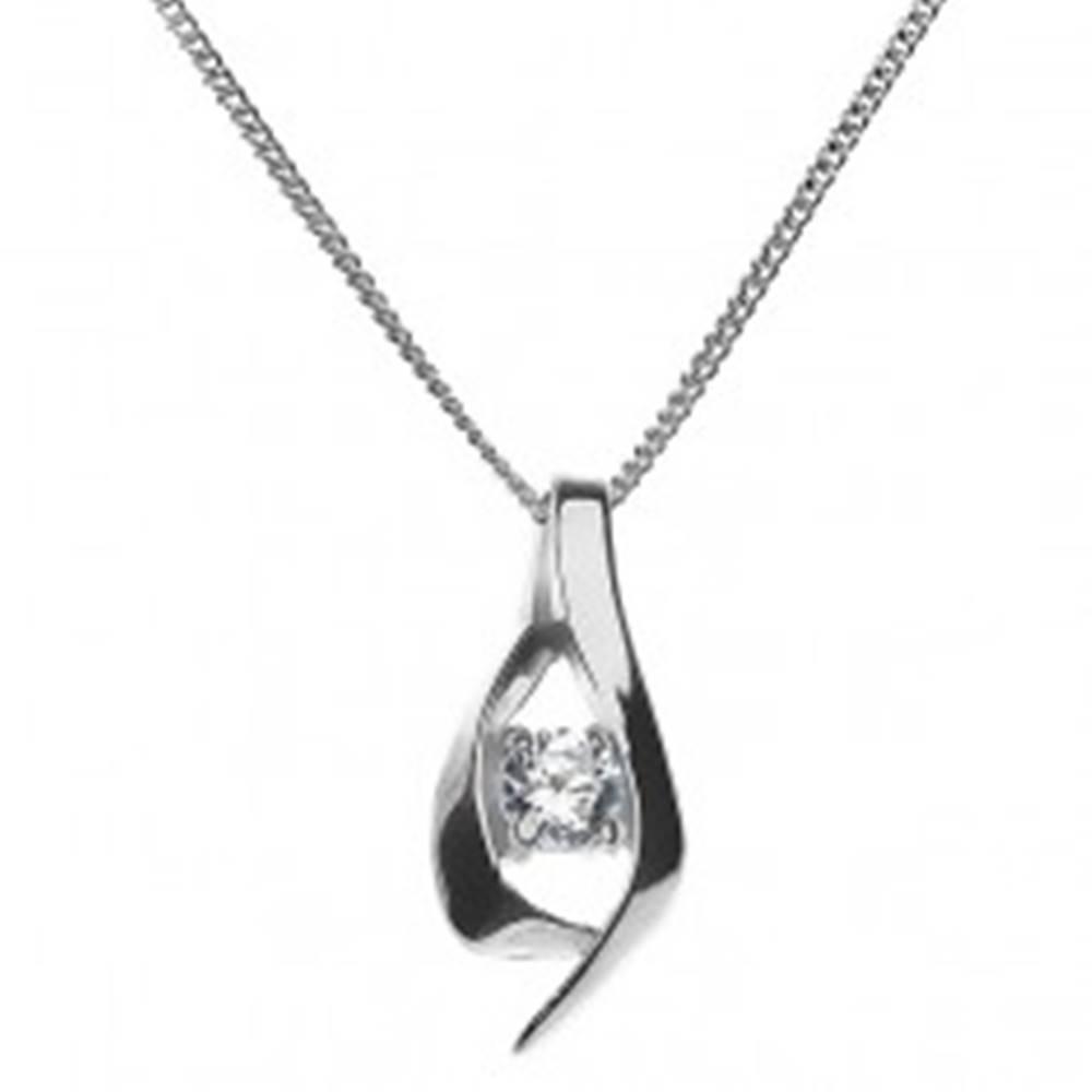 Šperky eshop Náhrdelník - preložená lesklá zvlnená línia so zirkónom, striebro 925