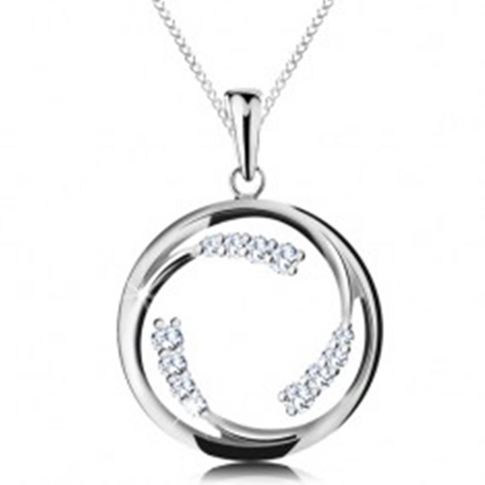 Šperky eshop Náhrdelník zo striebra 925, prívesok - kruh s oddelenými líniami a zirkónmi
