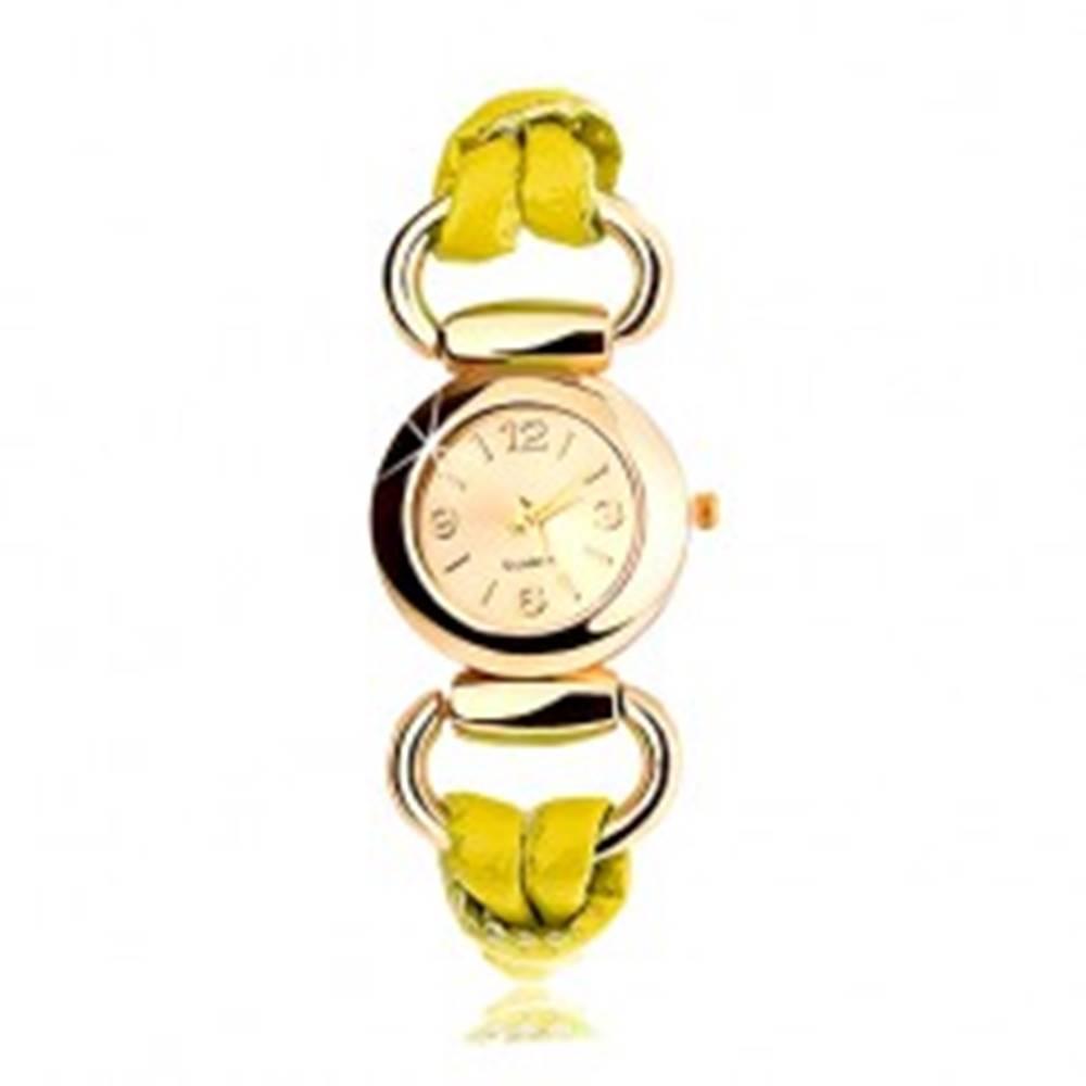 Šperky eshop Náramkové hodinky, remienok zo žltého latexu, okrúhly ciferník zlatej farby