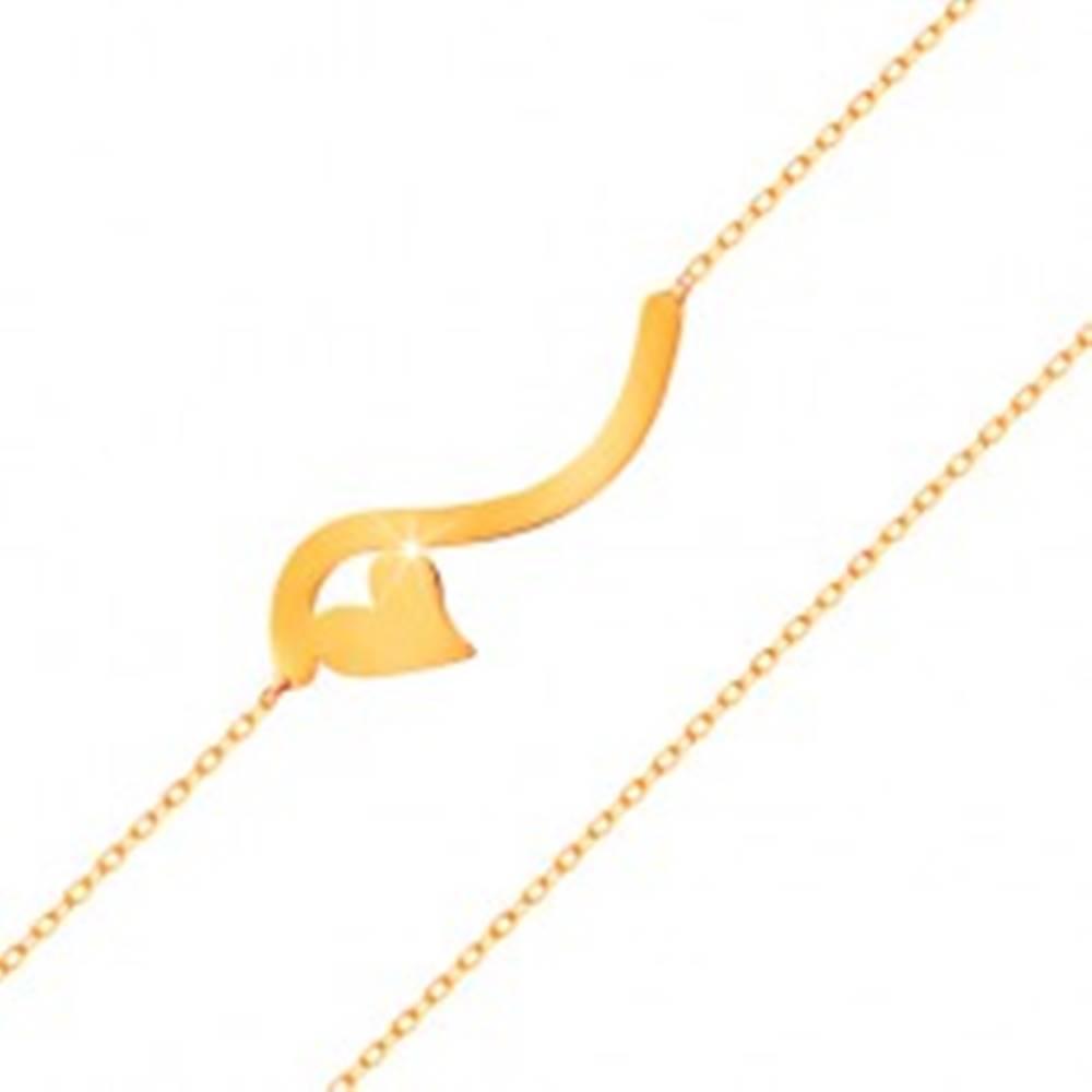 Šperky eshop Náramok v žltom 14K zlate - vlnka a malé symetrické srdiečko, jemná retiazka