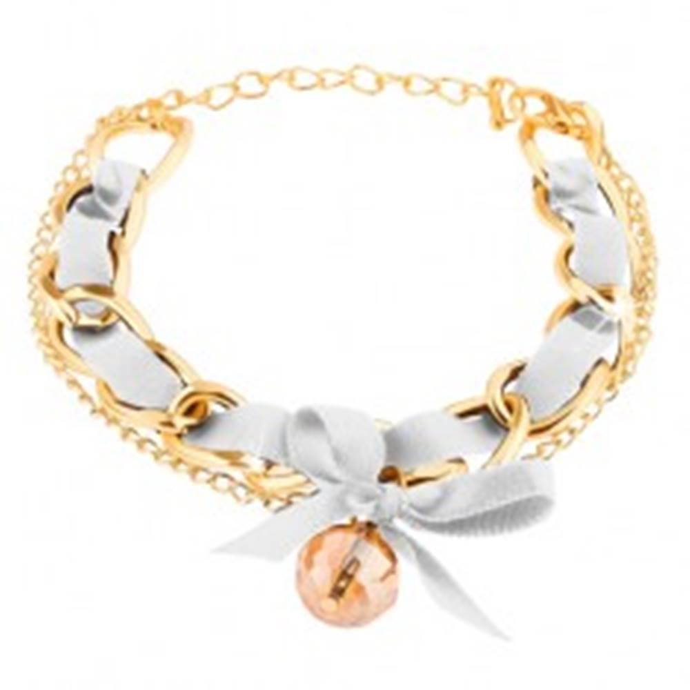Šperky eshop Náramok z dvoch retiazok zlatej farby, biela stužka s mašličkou, korálka