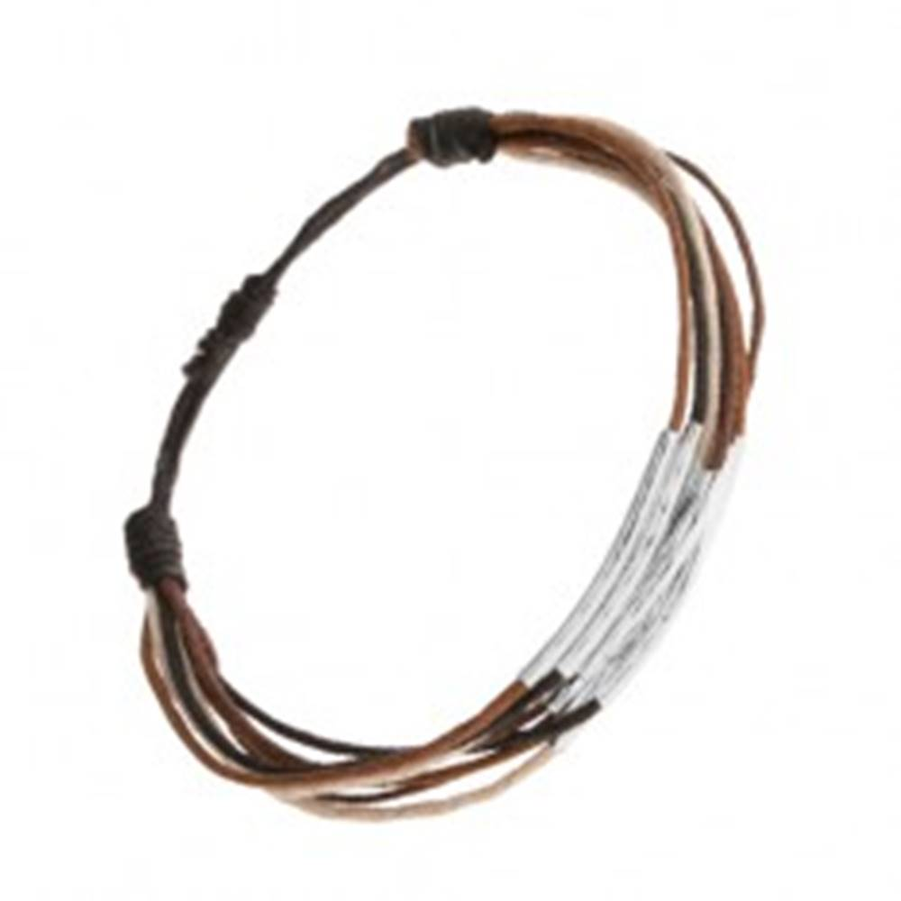 Šperky eshop Náramok zo šnúrok čiernej, hnedej, škoricovej a béžovej farby, pásiky z ocele