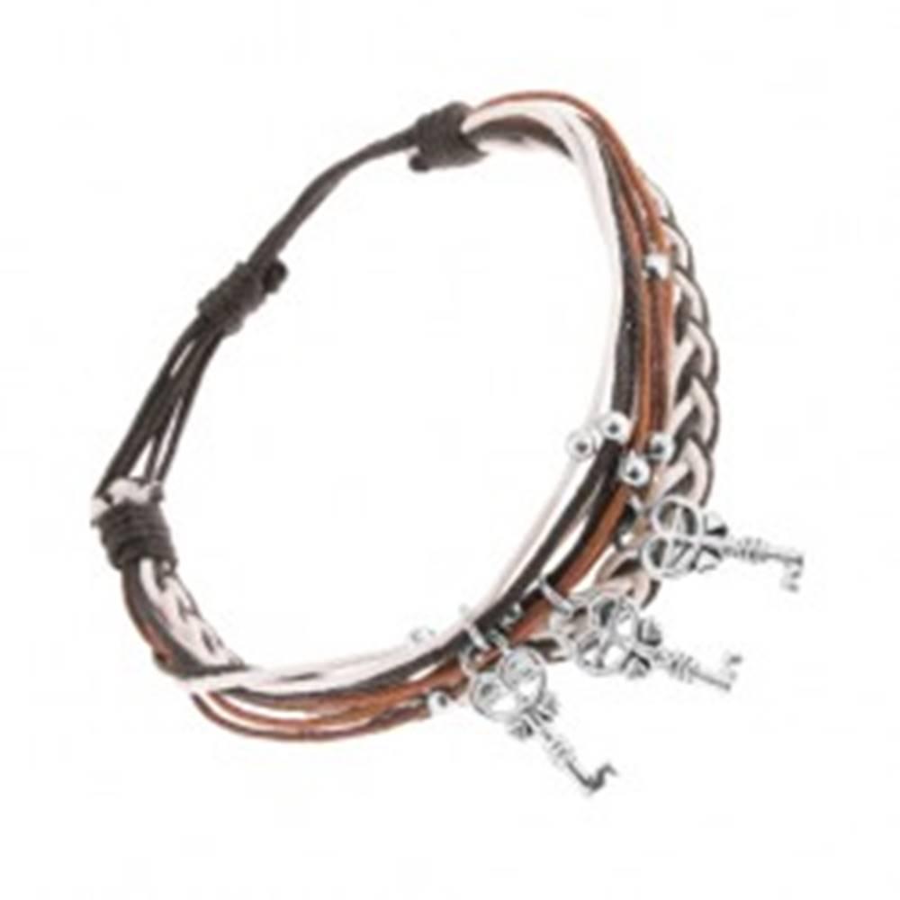 Šperky eshop Nastaviteľný náramok hnedej, čiernej a bielej farby, guličky a kľúčiky z ocele