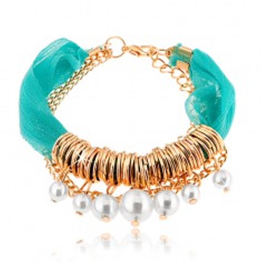 Šperky eshop Nastaviteľný náramok, tyrkysová textilná stužka, krúžky, korálky, retiazka