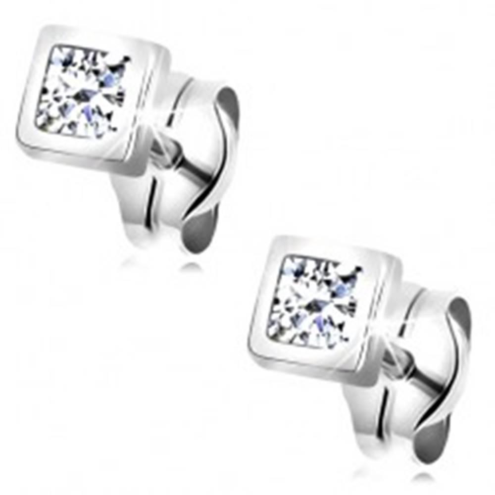 Šperky eshop Náušnice v bielom 14K zlate - zirkón čírej farby v lesklej štvorcovej objímke