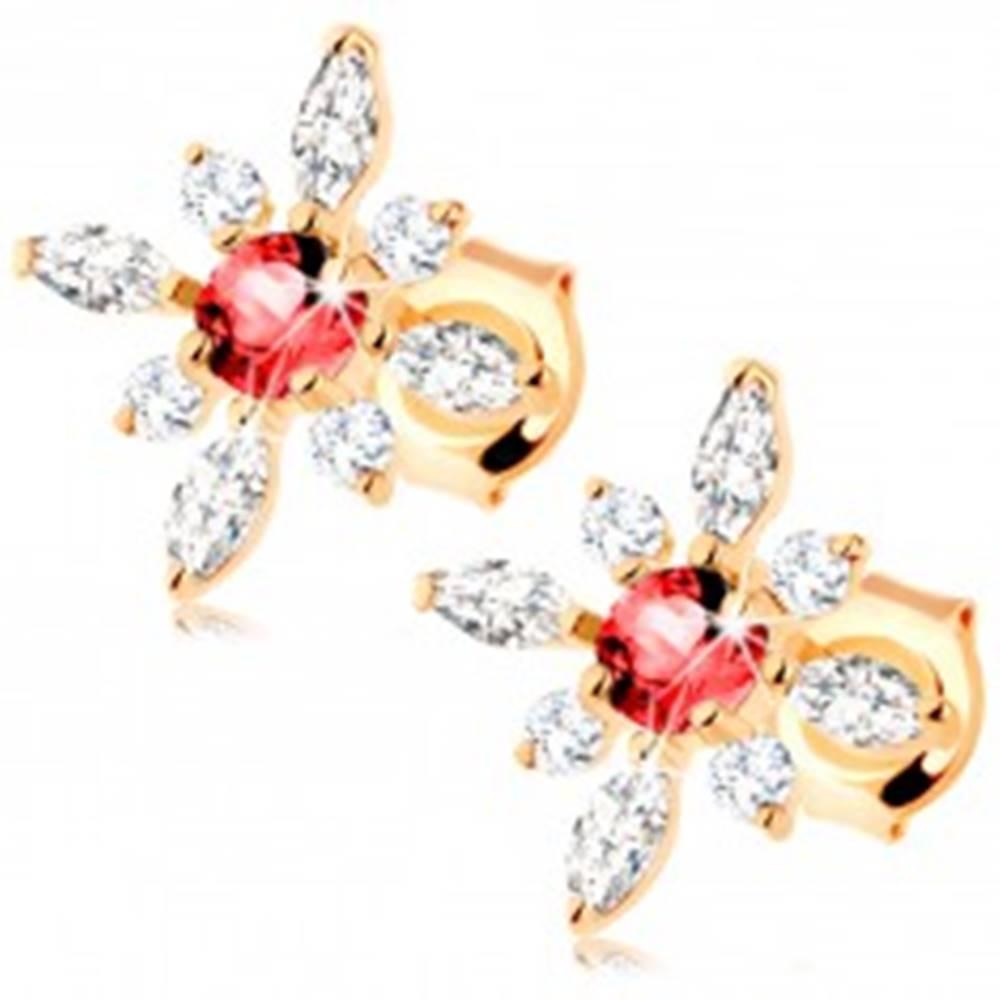 Šperky eshop Náušnice v žltom 9K zlate - kvet z červeného granátu a čírych zirkónov