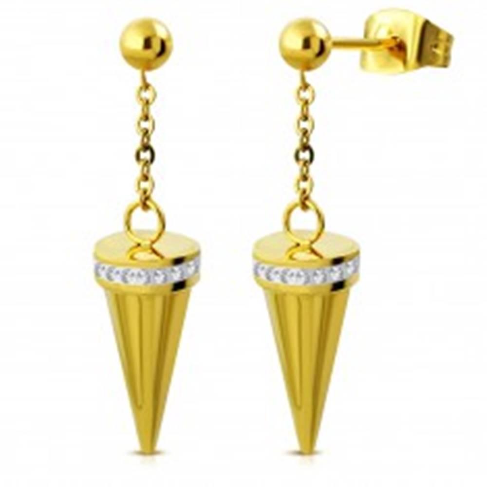 Šperky eshop Náušnice z ocele 316L zlatej farby, guľôčka a visiaci kužeľ zdobený čírymi zirkónmi