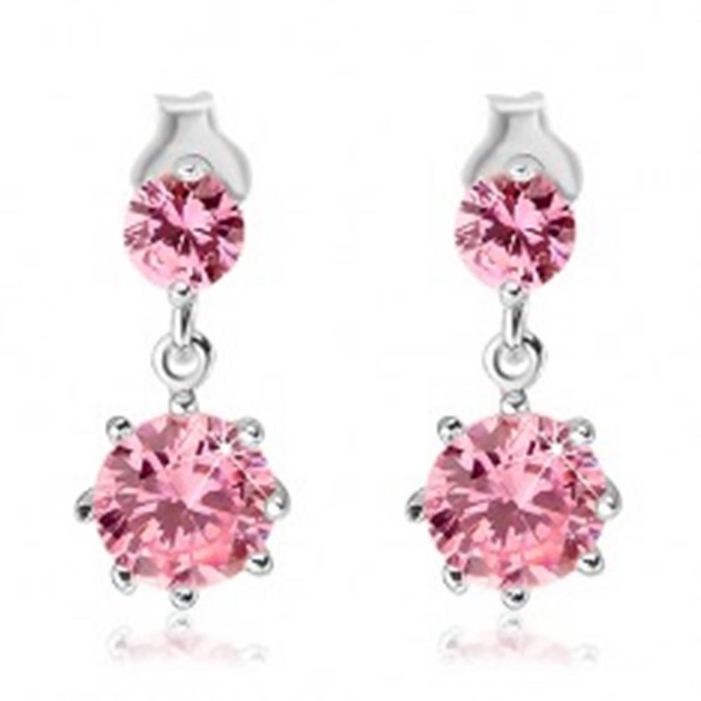 Šperky eshop Náušnice zo striebra 925 - ružové visiace zirkóny v korunke, puzetky