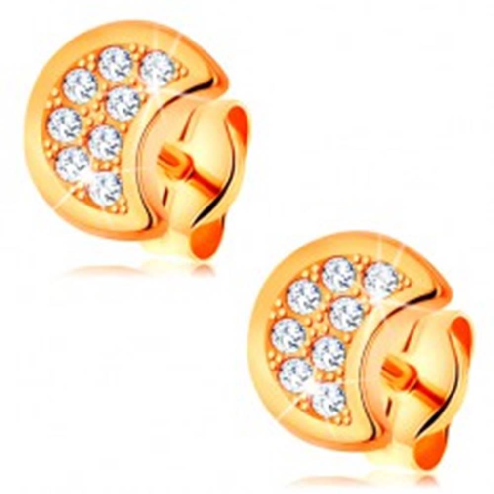 Šperky eshop Náušnice zo žltého 14K zlata - polmesiac zdobený čírymi okrúhlymi zirkónmi