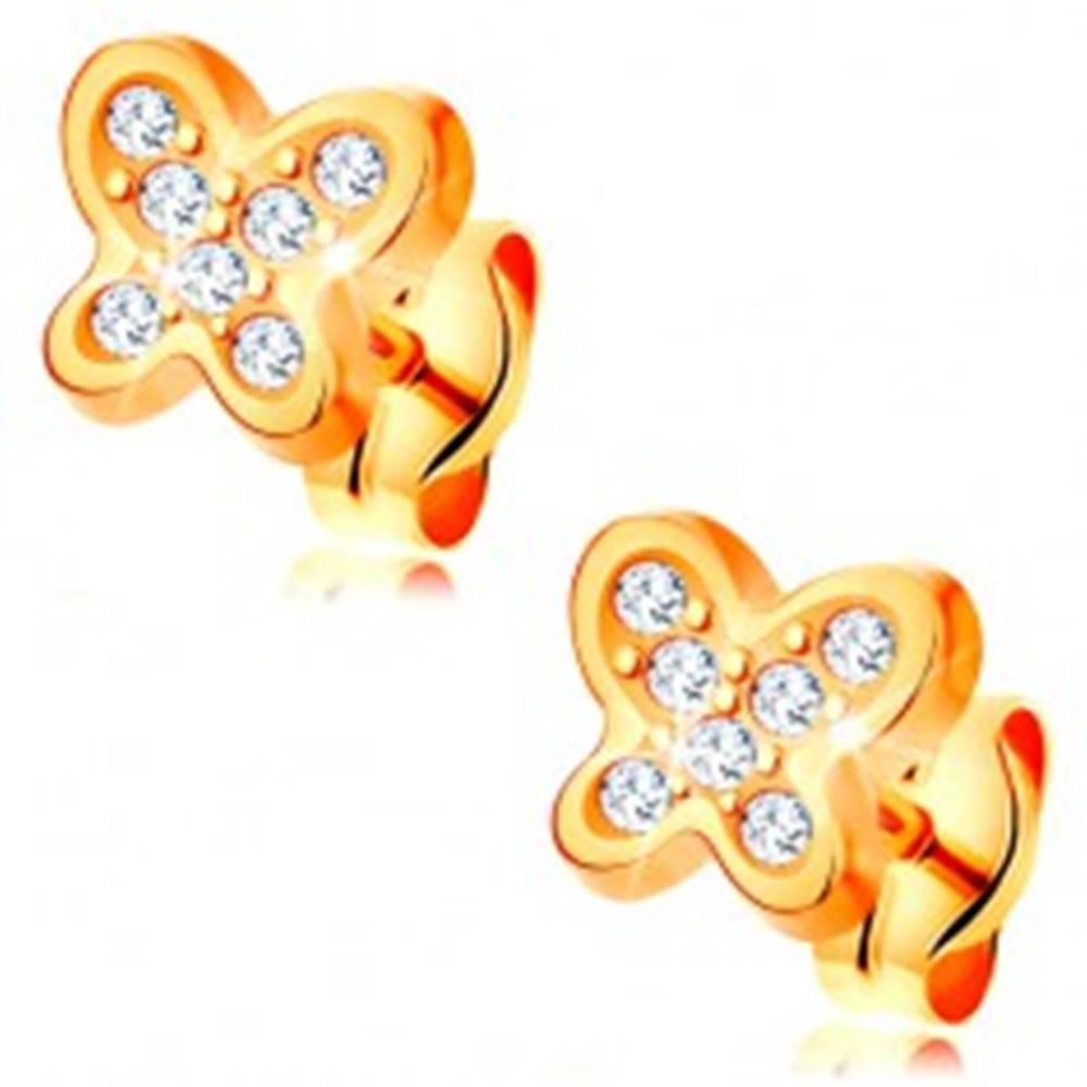 Šperky eshop Náušnice zo žltého 14K zlata - trblietavý motýlik, číre okrúhle zirkóny