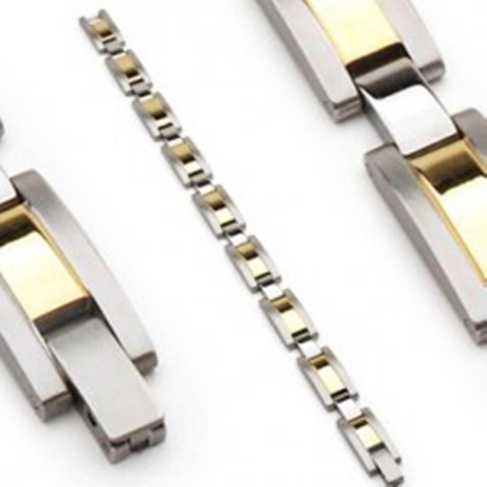 Šperky eshop Oceľový náramok, články striebornej a zlatej farby, matné okraje